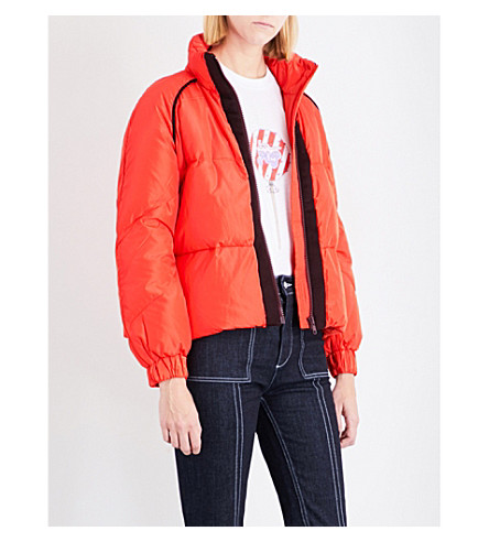 GANNI Fountain shell puffer jacket (Big+apple+red