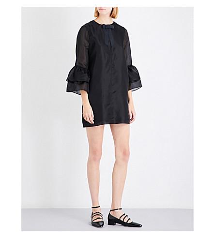 GANNI Seneca bell-cuff silk-organza dress (Black