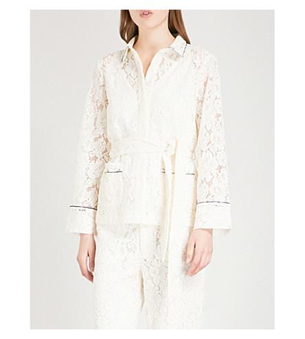 GANNI Jerome belted lace shirt (Egret