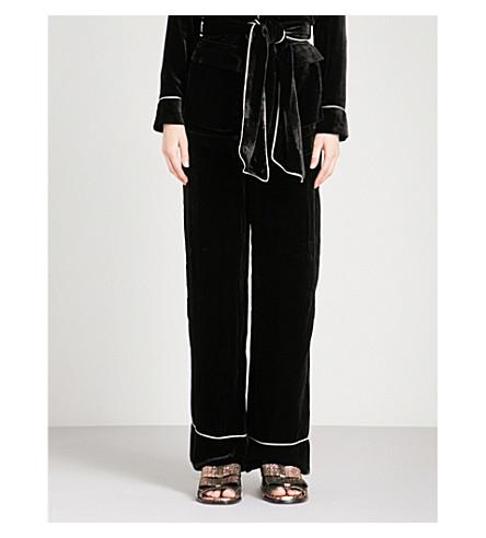 GANNI Rodier wide-leg velvet trousers (Black