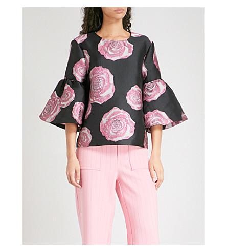 GANNI Turenne rose-patterned jacquard top (Black