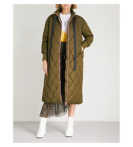 GANNI Vandalia quilted long-line coat (Army