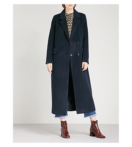 GANNI Abbey double-breasted wool-blend coat (Total+eclipse