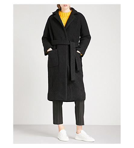GANNI Fenn bouclé wool-blend wrap coat (Black
