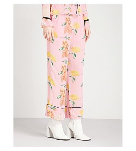 GANNI Marceau straight chiffon trousers (Sea+pink