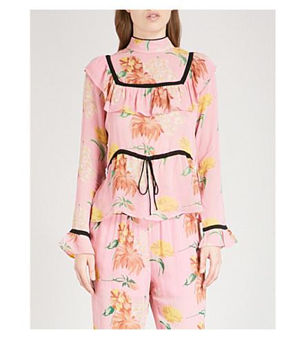 GANNI Marceau georgette blouse (Sea+pink