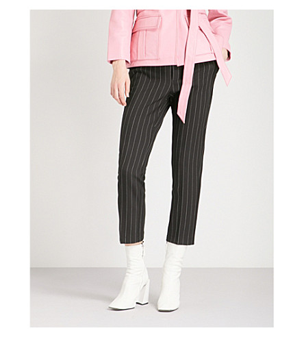 GANNI Brighton tapered pinstriped woven trousers (Black