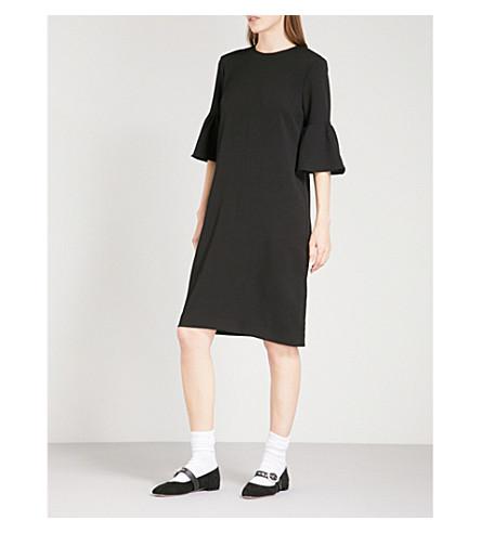 GANNI Clark fluted crepe dress (Black
