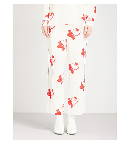 GANNI Harley floral-print crepe trousers (Vanilla+ice