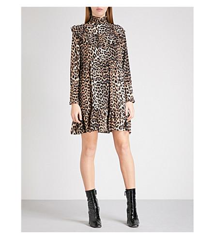 GANNI Fayette silk mini dress (Leopard