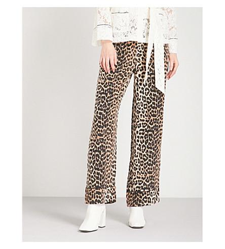 GANNI Fayette silk high-rise wide-leg trousers (Leopard