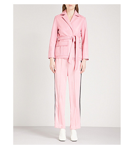 GANNI Passion belted leather jacket (Sea+pink
