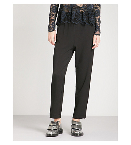 GANNI Clark high-rise tapered crepe trousers (Black
