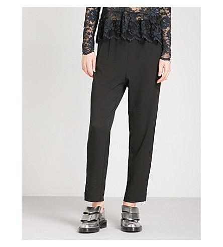 GANNI Clark high-rise tapered crepe trousers (Black