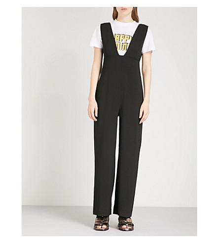 GANNI Clark crepe jumpsuit (Black