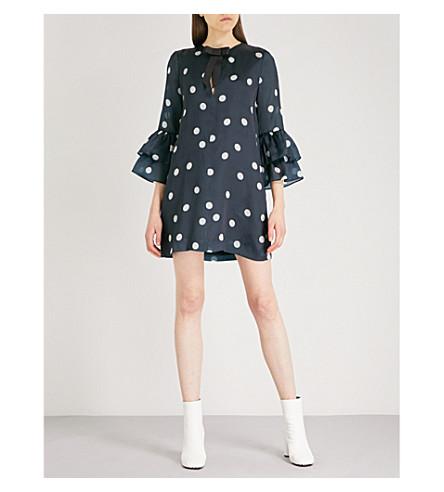 GANNI Seneca polka-dot bow-detail silk dress (Total+eclipse