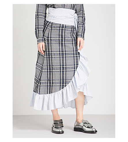 GANNI Charron checked high-rise cotton-blend skirt (Total+eclipse
