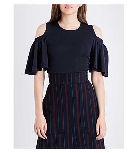 GANNI Romilly cold-shoulder knitted top (Total+eclipse