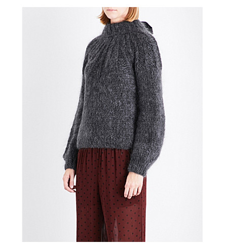 GANNI Julliard wool and mohair-blend jumper (Ebony+melange