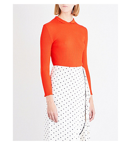 GANNI Romilly ruffled-edge top (Big+apple+red