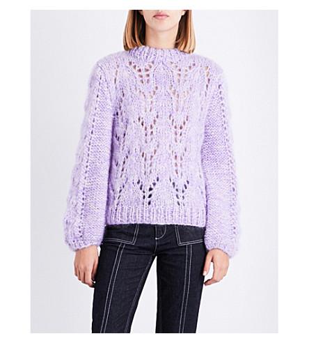 GANNI Julliard wool and mohair-blend jumper (Pastel+lilac