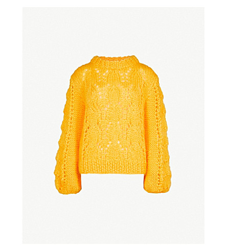 GANNI Julliard wool and mohair-blend jumper (Lemon