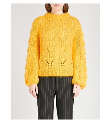 GANNI Julliard wool and mohair-blend jumper (Lemon