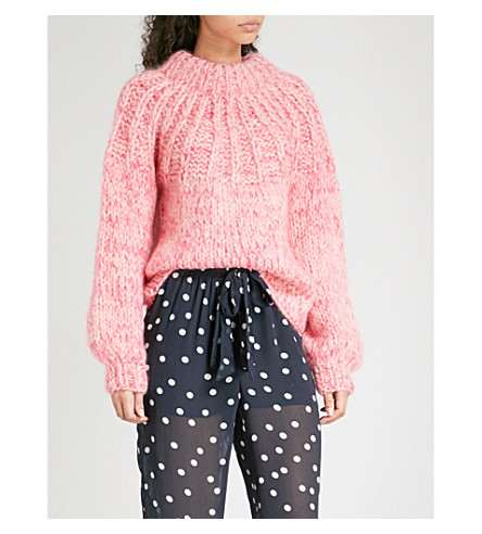 GANNI Julliard wool and mohair-blend jumper (Sea+pink