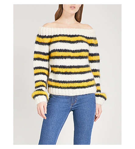 GANNI Julliard striped wool and mohair-blend jumper (Block+colour