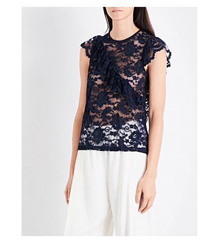 GANNI Flynn ruffled floral-lace top (Total+eclipse