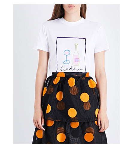 GANNI Moulin Bonheur cotton-jersey T-shirt (Bright+white