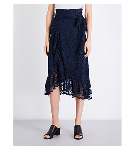 GANNI Flynn ruffled floral-lace midi skirt (Total+eclipse