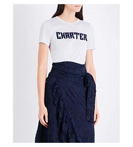 GANNI Perrin jersey T-shirt (Pearl+blue