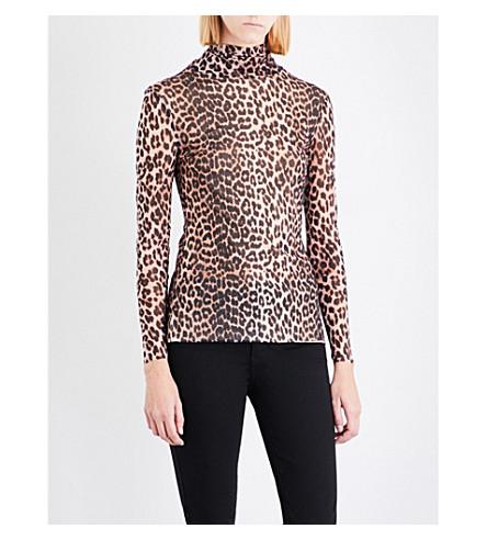 GANNI Tilden leopard-print mesh top (Leopard