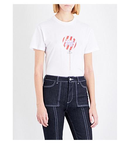 GANNI Love Pop cotton-jersey T-shirt (Bright+white