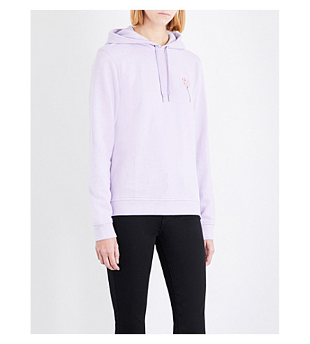 GANNI Lott Isoli embroidered-detail cotton-jersey hoody (Pastel+lilac