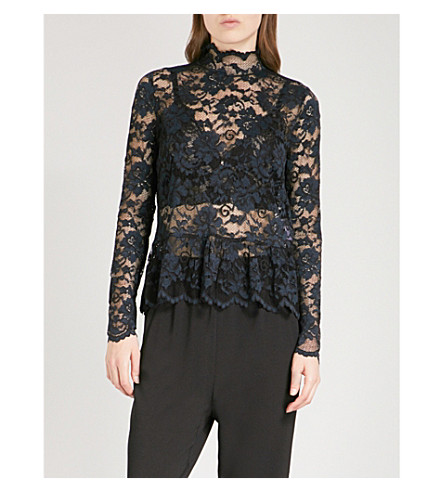 GANNI Flynn lace top (Black