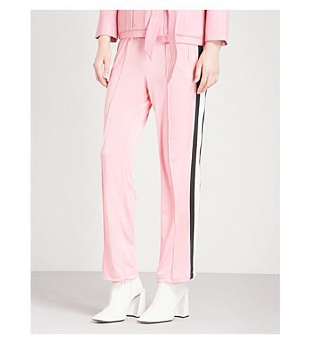GANNI Dubois high-rise straight-leg cotton-piqué trousers (Sea+pink