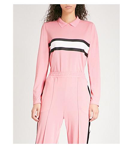 GANNI Dubois cotton-piqué polo top (Sea+pink