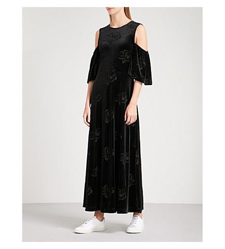 GANNI Bloomsbury cold-shoulder devoré maxi dress (Black