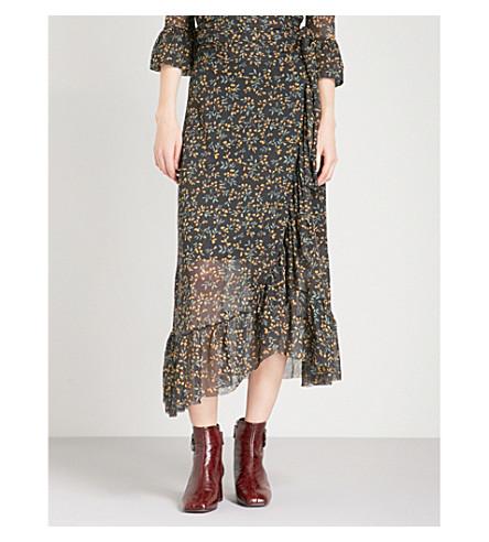 GANNI Tilden floral-print mesh skirt (Black