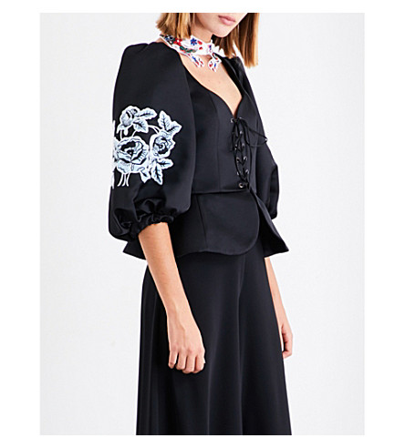 VIVETTA Gibuti floral-embroidered satin top (Black