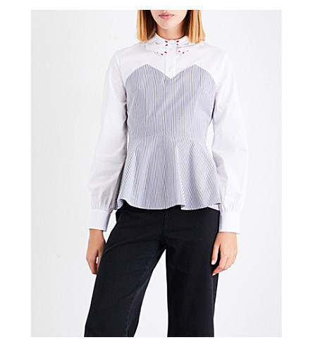 VIVETTA La Canea striped cotton shirt (White+black