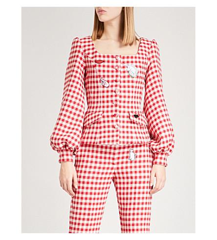 VIVETTA Sarin appliqué gingham woven jacket (Red/white