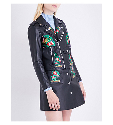 VIVETTA Bangkok embroidered leather jacket (Black