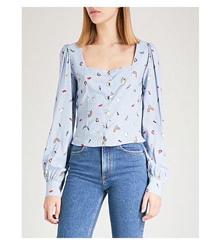 VIVETTA Kraz square-neck crepe blouse (Multi+blue