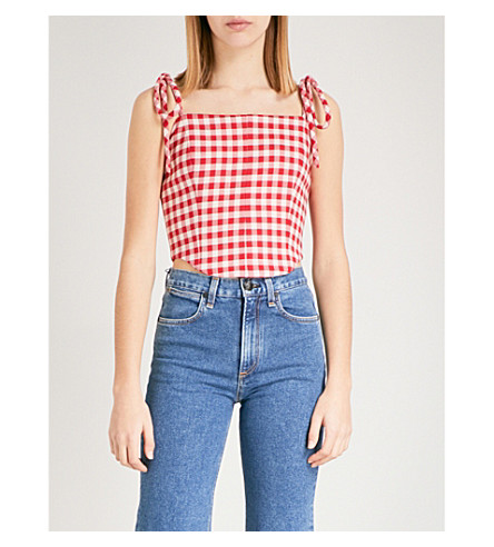 VIVETTA Auriga sleeveless cotton crop top (Red/white