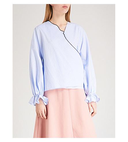VIVETTA Kari cotton wrap blouse (Light+blue