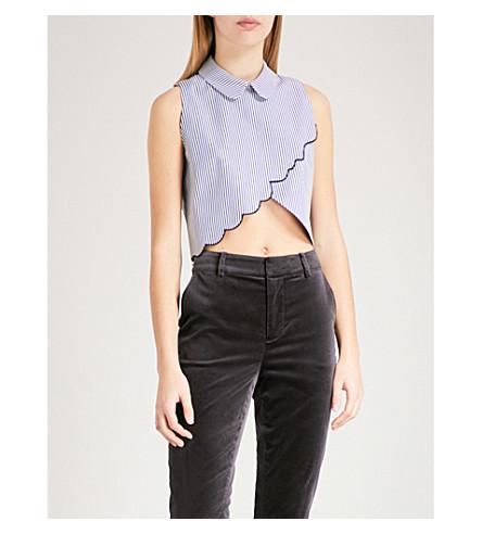 VIVETTA Algol striped cotton cropped blouse (Navy