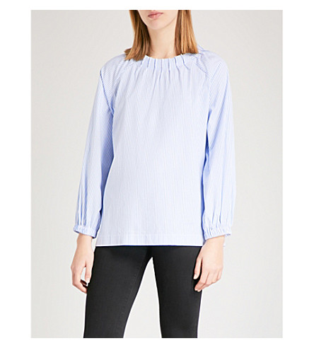 VIVETTA Merga pleated cotton shirt (Light+blue